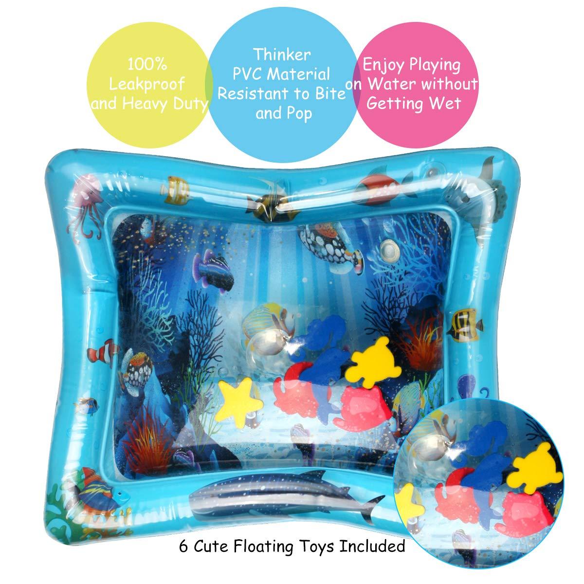 Aappy Tappetino da Gioco Gonfiabile per Bambini Ventre Senza Cuscino dAcqua BPA Premium per Neonati e Bambini Piccoli