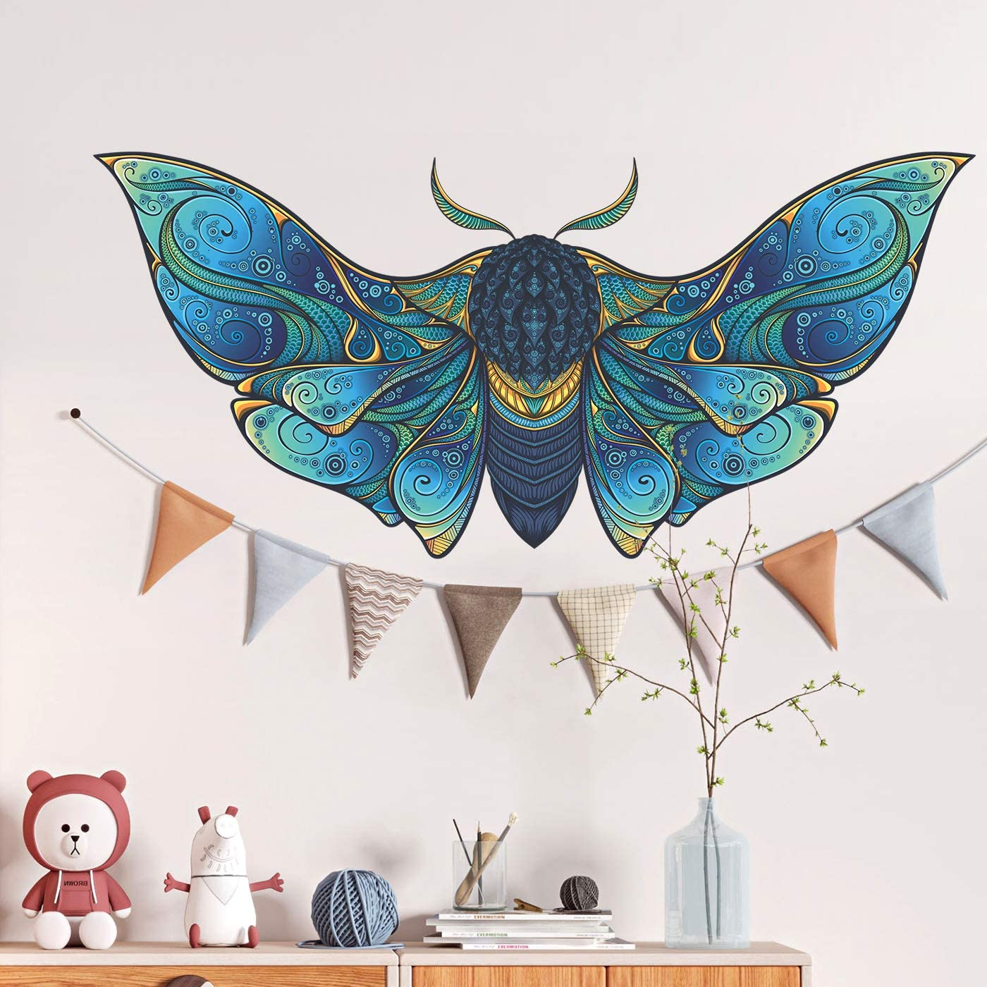 RW-B98 Big Moth Wall Decal Blue Moth Animals Wall Stickers DIY Removable 3D Butterfly Moth Wall Art Decor for Kids Boys Girls Bedroom Living Room Nursery Office Classroom Decoration