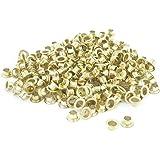 270 Pcs Gold Tone Metallic Round Shaped Eyelet Grommet for Paper