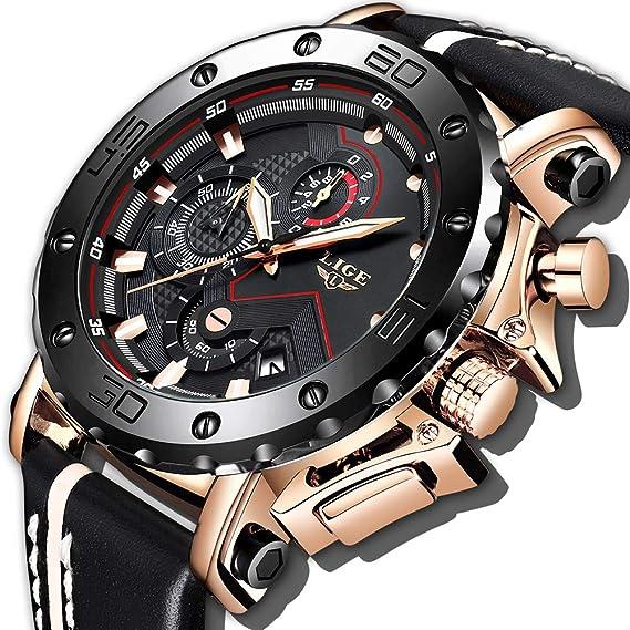 fc3f20603de8 LIGE Relojes para Hombre Cronógrafo Impermeable Militar Deportivo Moda  Resistente Al Agua Reloj De Cuarzo Analógico Reloj De Caballero Reloj  Grande ...