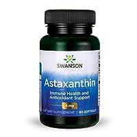 Swanson Astaxanthin Eye Vision Brain Skin Health Antioxidant Support Supplement (Astaxanthin 4 mg) 60 Softgels Sgels