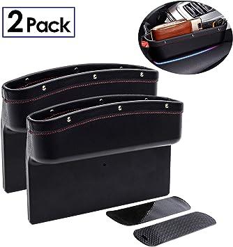 Black EZEYU 2 Pack Car Seat Pocket,PU Leather Gap Filler Organizer Car Console Side Storage Organizer with 2 Non-Slip Mat Multi-Functional Storage Box for Cellphone Wallet Coin Key