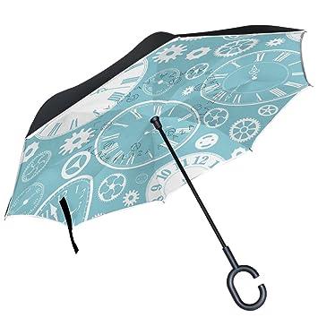 ALAZA reloj cara Gear partes sobre azul paraguas invertido doble capa resistente al viento Reverse paraguas