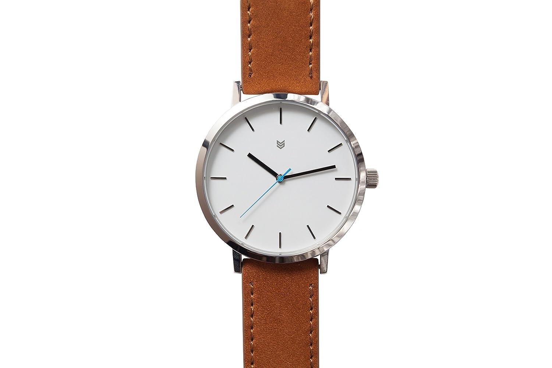 Squadron Watch Uhr Electric White Herren Armbanduhr OR1 Leder 43mm