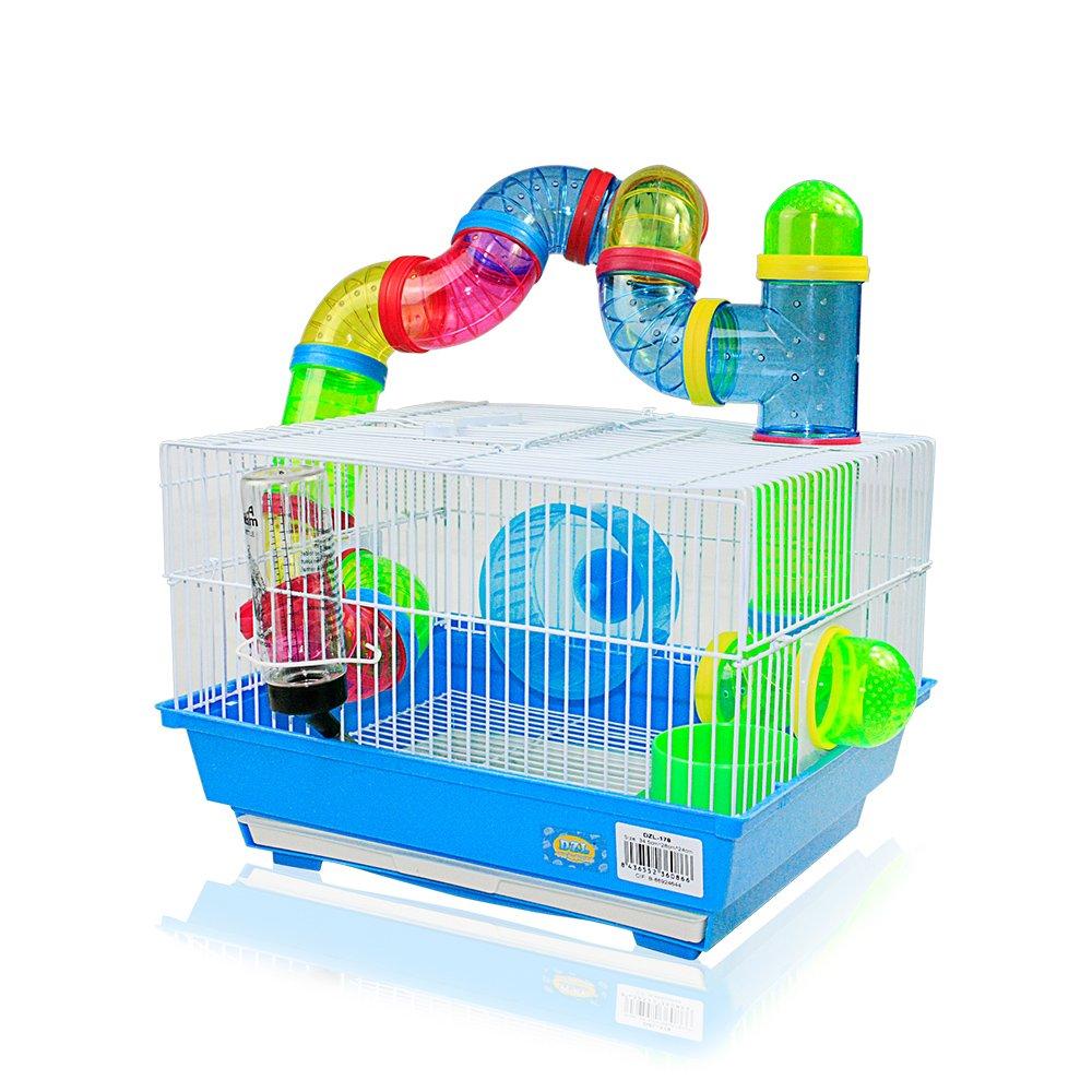 Cage pour hamster 34,5x 28x 24cm avec tubes de couleurs DI ZE LIN PET HOME S.L
