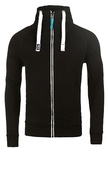 WOTEGA Men's Zip Hoody Hooded Sweatshirt Alex Soft Hoodie Pullover Sports,  Black (Black 194008