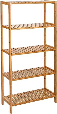 SONGMICS BCB35Y Estantería de Bambú de 5 Niveles, para Baño, Librería, Zapatero, 132 x 30 x 9.5 cm: Amazon.es: Hogar