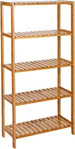SONGMICS 5-Tier Bamboo Shelf, Shelving Unit, Free Standing Storage Rack, Adjustable, for Plants Shoes, 60 x 26 x 130 cm, Natural BCB35Y
