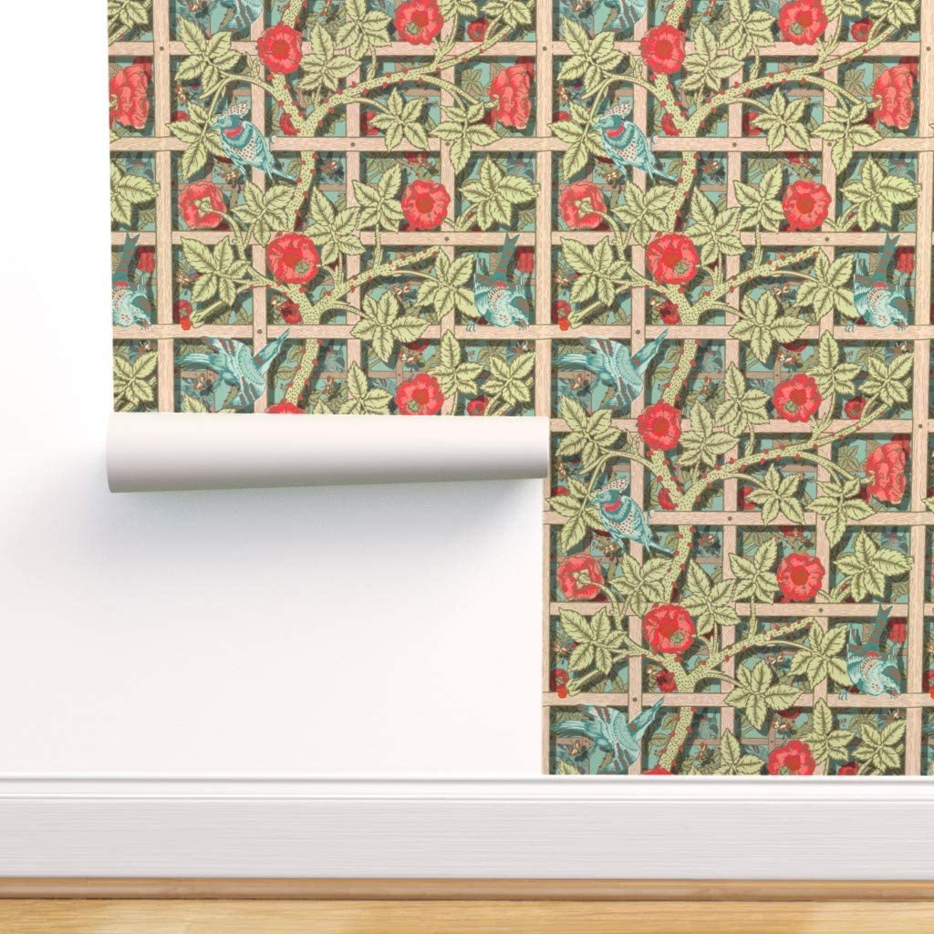 Spoonflower Peel and Stick Removable Wallpaper, Collection Birds Trellis Vines Floral Garden Kitchen Print, Self-Adhesive Wallpaper 24in x 144in Roll
