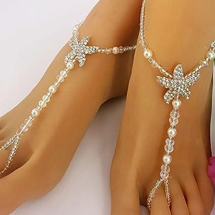 a4b21466a0276 Flower Girl Crystal Barefoot Sandals Rhinestone Starfish Beach Wedding  Jewelry Kids Anklet