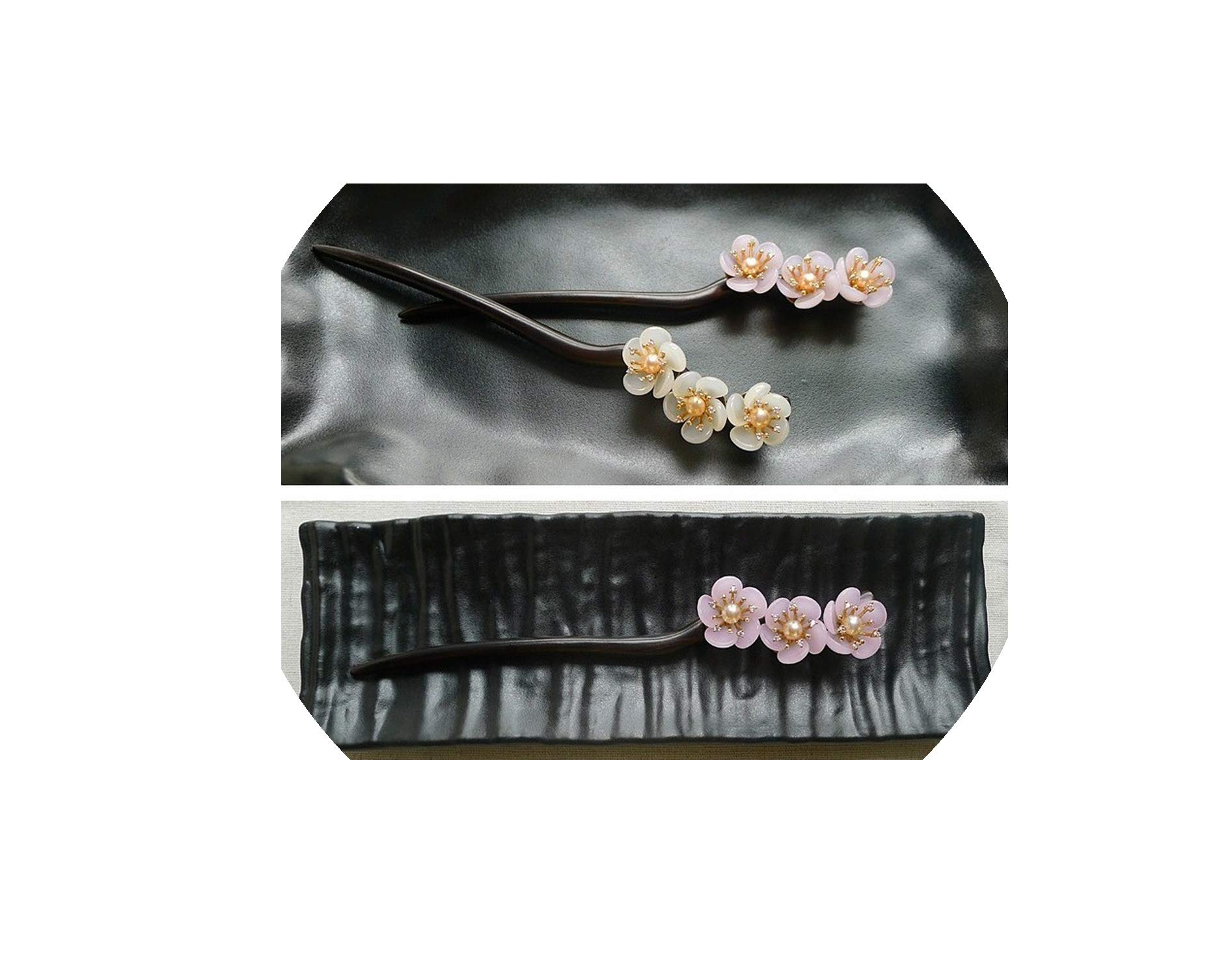 Ebony Hair Stick Plum Blossom Natural Pearl Flower Sticks Chinese Jewelry Hair Pin WIGO1060,Green 1pc