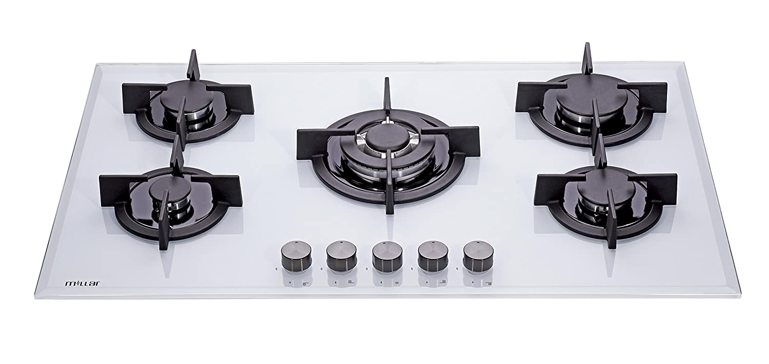 millar gh9051pw 5 burner built in white gas on glass hob. Black Bedroom Furniture Sets. Home Design Ideas