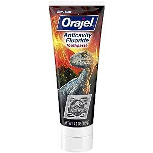 Orajel Jurassic World Anticavity Fluoride Toothpaste- Berry Blast Flavor- Kids Toothpaste 4.2oz Tube