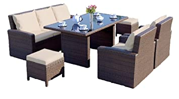 Abreo Grand Rattan Garden Furniture Sofa, Chairs & Dining Table Set With  Footstools (Brown With light Cushions)