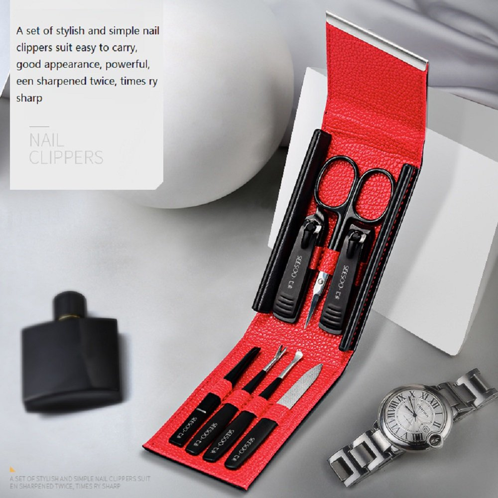 Nail Clippers Set, HPChoice 7pcs in 1 Sharp Steel Ear Wax Removal Nail Clippers Scissors Eyebrow Tweezers Set Personal Care Foot Manicure Pedicure Tools Kit by HPChoice (Image #2)