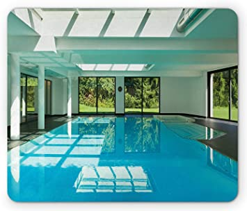 SPA Mouse Pad, Indoor Swimming Pool of a Modern House with SPA Window Residential Interior Design, Standard Size Rectangle Non-Slip Rubber Mousepad, Mint Aqua Green: Amazon.es: Electrónica