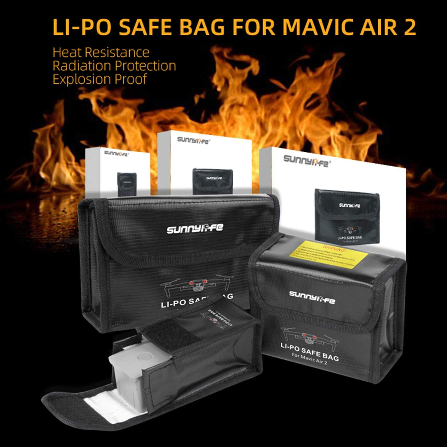 Hensych LiPo Safe Bag Heat Resistance Explosion Proof Radiation Protection Case for Mavic Air 2,Safe Storage Bag Fireproof Protective Box for 1pcs battery