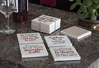 product image for Imagine Design Relatively Funny Enough to, Caution: May Nap, at My Age, I'm Getting So Old 4-Pk Assort Travertine Coasters, Red/Black/White