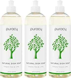 product image for Puracy Natural Dish Soap, Green Tea & Lime, Sulfate-Free, Natural Liquid Detergent, 16 Ounce (3-Pack)