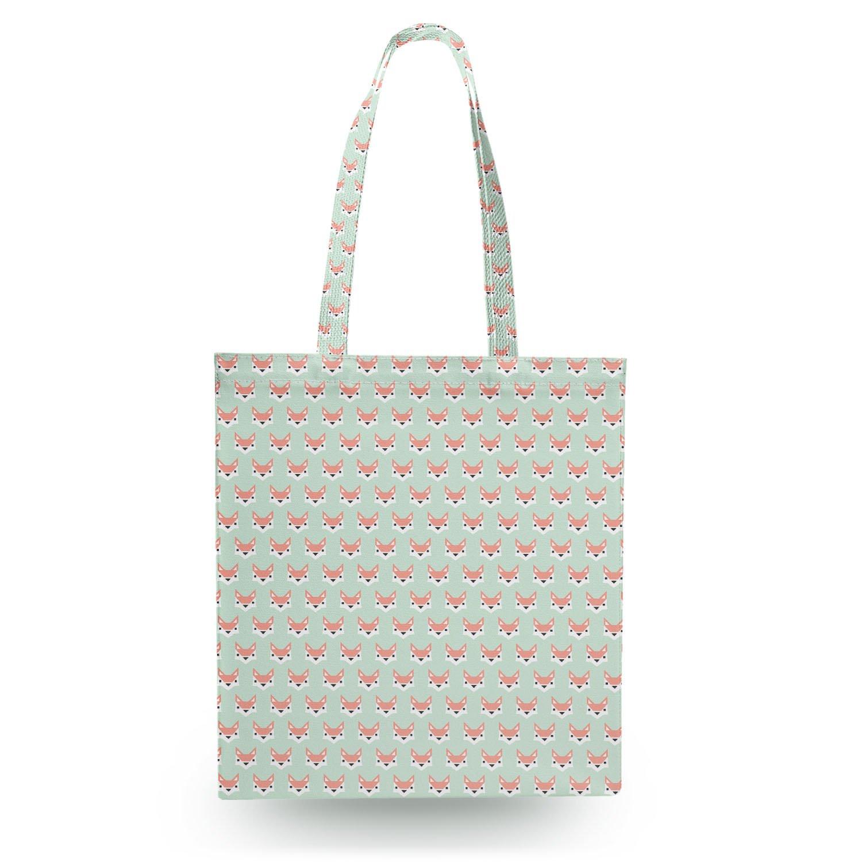 Geometric Fox in Pastel Canvas Tote Bag