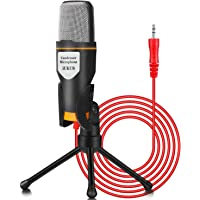 IUKUS PC Microphone with Mic Stand, Professional 3.5mm Jack Recording Condenser Microphone Compatible with PC, Laptop…