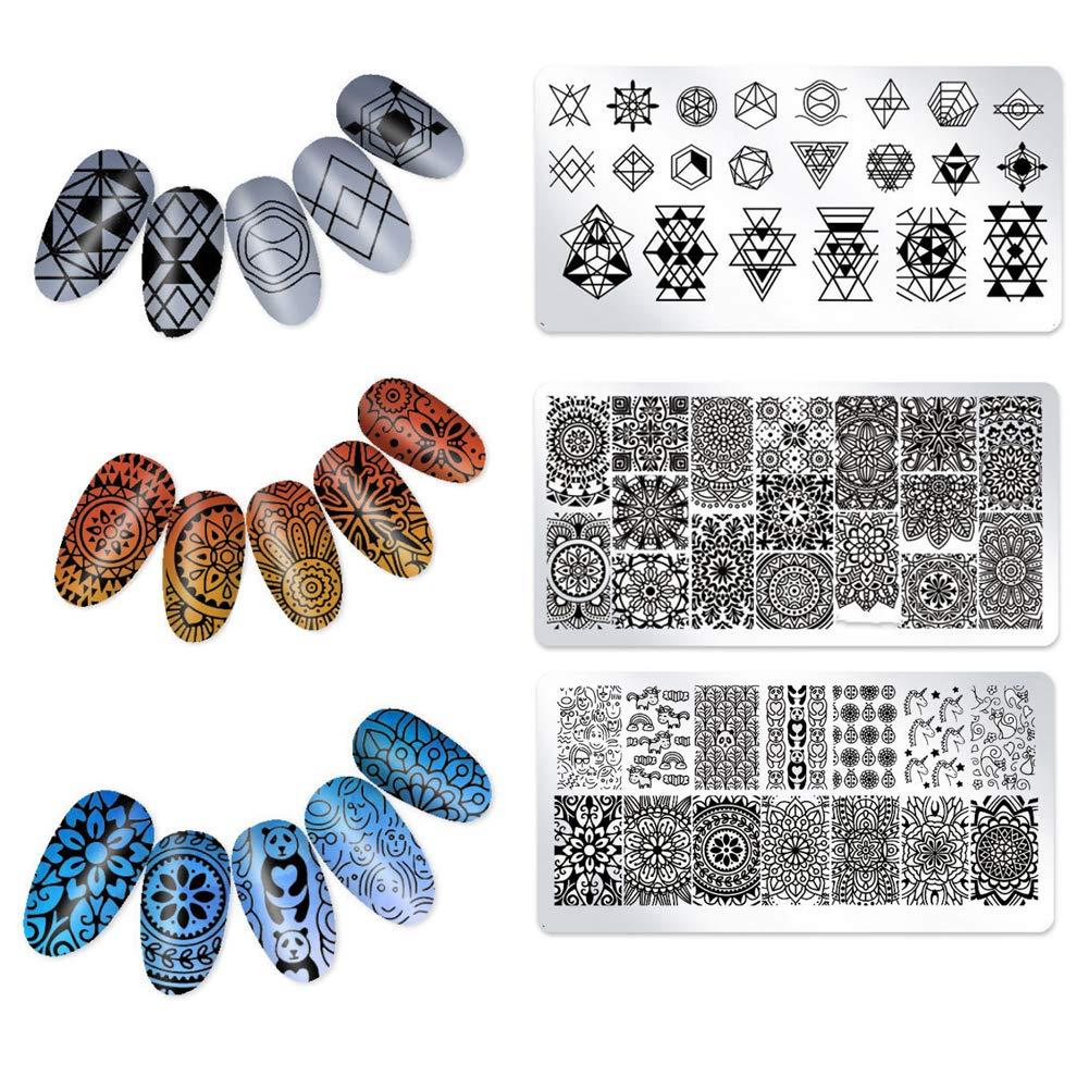 Trifycore Plantillas de manicura, nuevas placas de metal para estampado de uñas, placas de arte de uñas, esmalte de sello, plantilla, tatuaje, decoración de uñas (3 piezas)