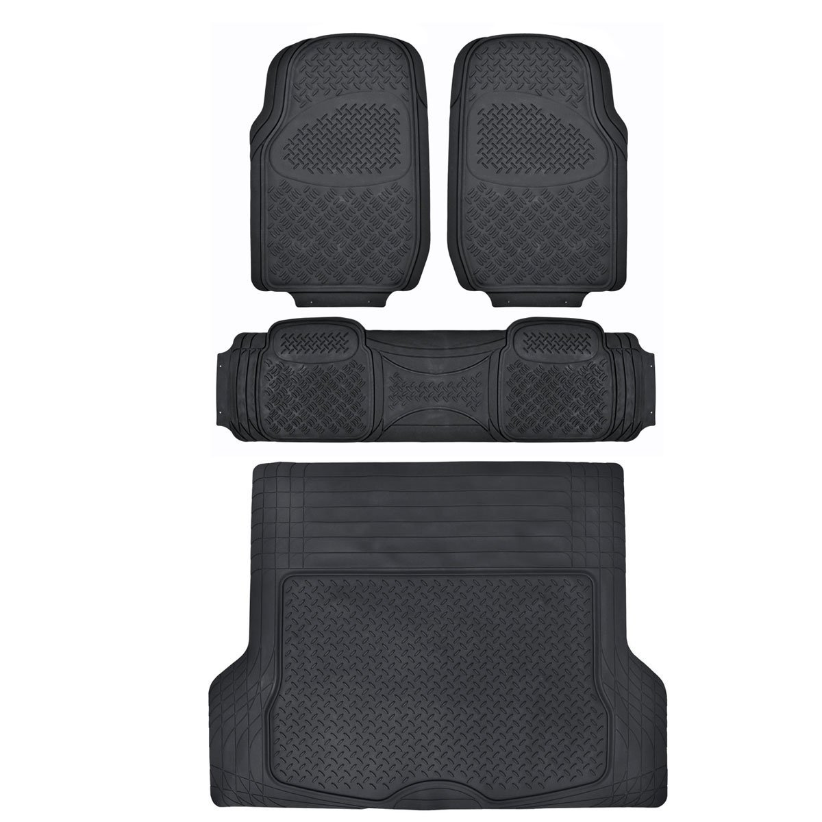 Motor Trend Odorless Heavy Duty Car SUV 4 Piece Floor Mats - All Weather - 2 Row and Trim to Fit Trunk XL Cargo Liner (Black)