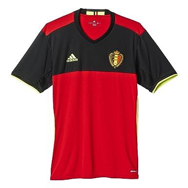Adidas - Camiseta de fútbol para Hombre, diseño de Bélgica - AA8744, Large, Scarlet/Black/Yellow: Amazon.es: Deportes y aire libre