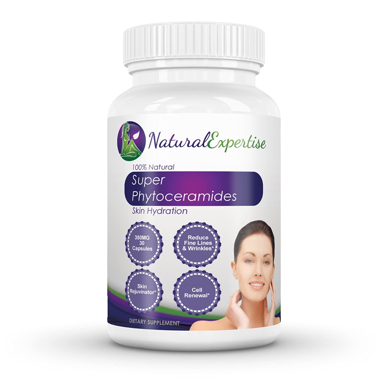 Super Phytoceramides - 350 MG 30 Capsules Plant Derived   100% All Natural  Gluten Free Ingredients  