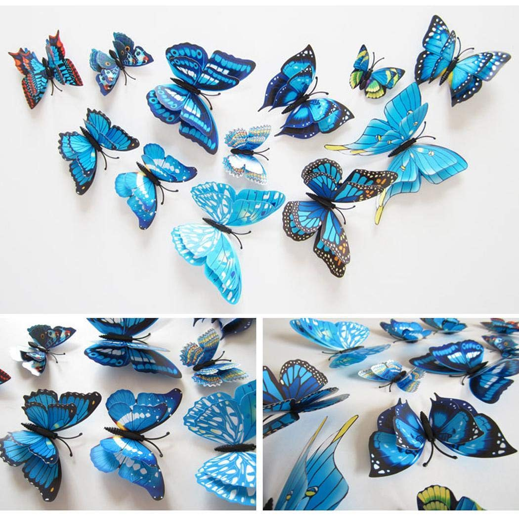 Rtiopo 12 Pcs Three-Dimensional PVC Simulation Butterfly Wall Stickers Wall Stickers