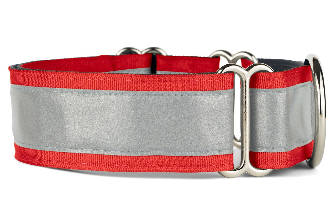 If It Barks - 1.5'' Reflective Martingale Collar for Dogs - Adjustable - Made in USA - Strong, Durable, and Comfy - Ideal for Training - Suitable for Most Breeds - Medium, Red