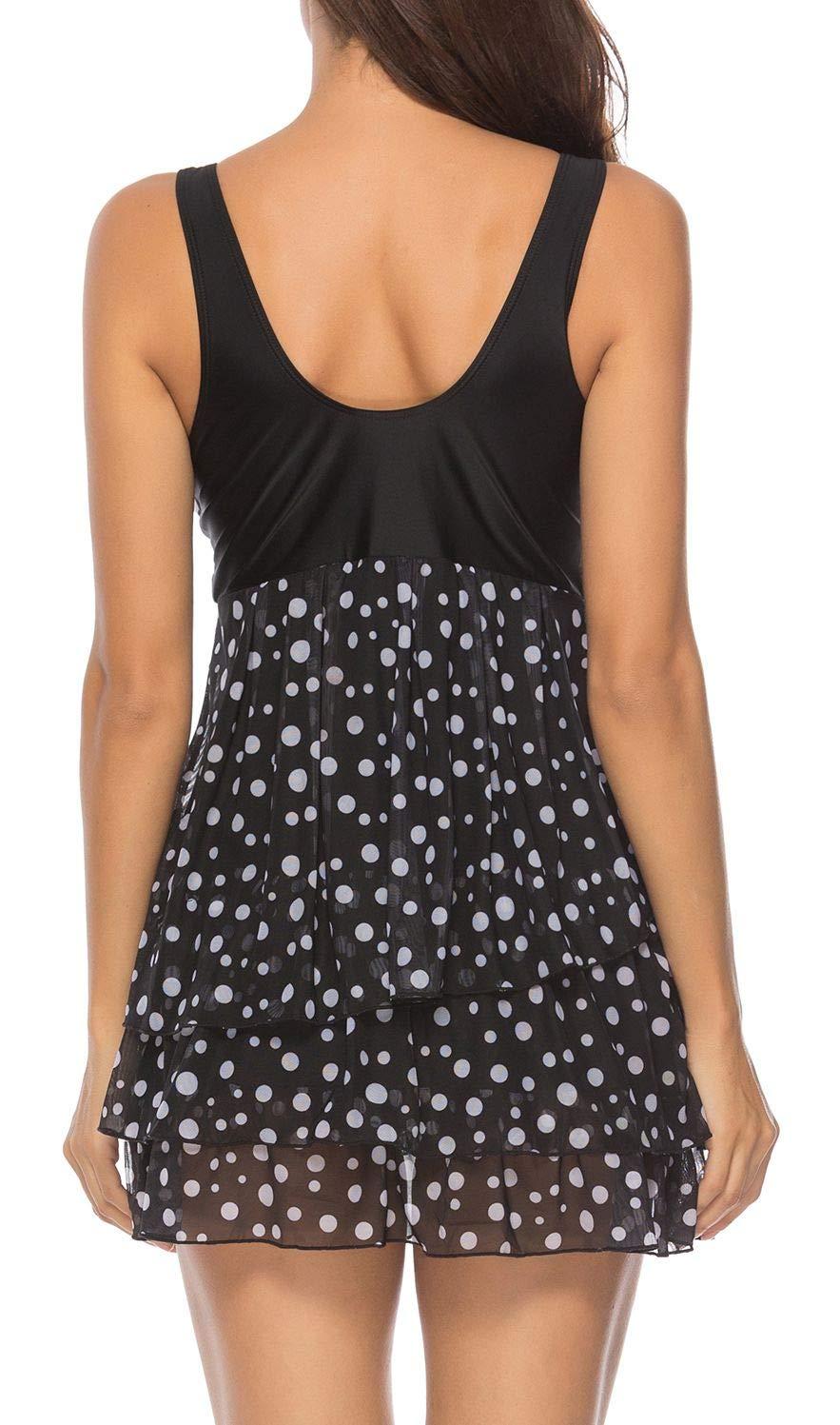 Yong Dong Women Tummy Control Swimdress Swimwear Print Skirted Two Piece Swimsuit Bathing Suit Dress Polka Dot M
