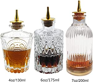 Bitters Bottle Set - Glass Bitter Bottle, with Stainless Steel Dash Top, Great Bottle For Your Bitters (bitters bottle set) (3pcs)