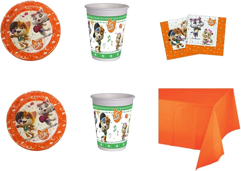 Party Store web by casa dolce casa 44 Gatos Juego de Mesa de Fiesta, cumpleaños 44 Gatos Kit n.° 7 CDC (16 Platos, 16 Vasos, 20 servilletas, 1 Mantel Monocolor): Amazon.es: Juguetes y juegos