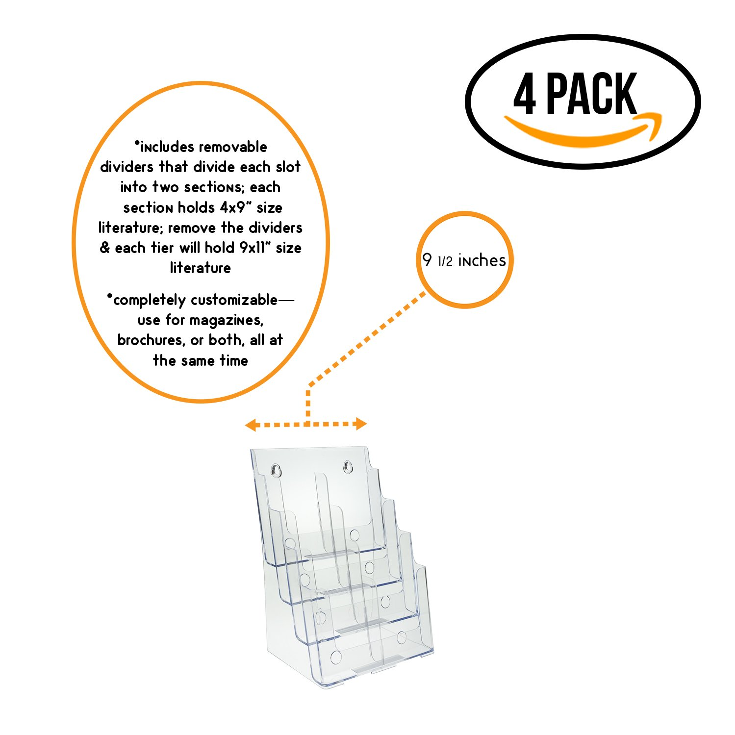 Source One Premium Large 4 Tier Magazine Organizer, Brochure Holder, Wall Mount or Counter Top Use Clear Acrylic (S1-85-4-DCI) (4 Pack)