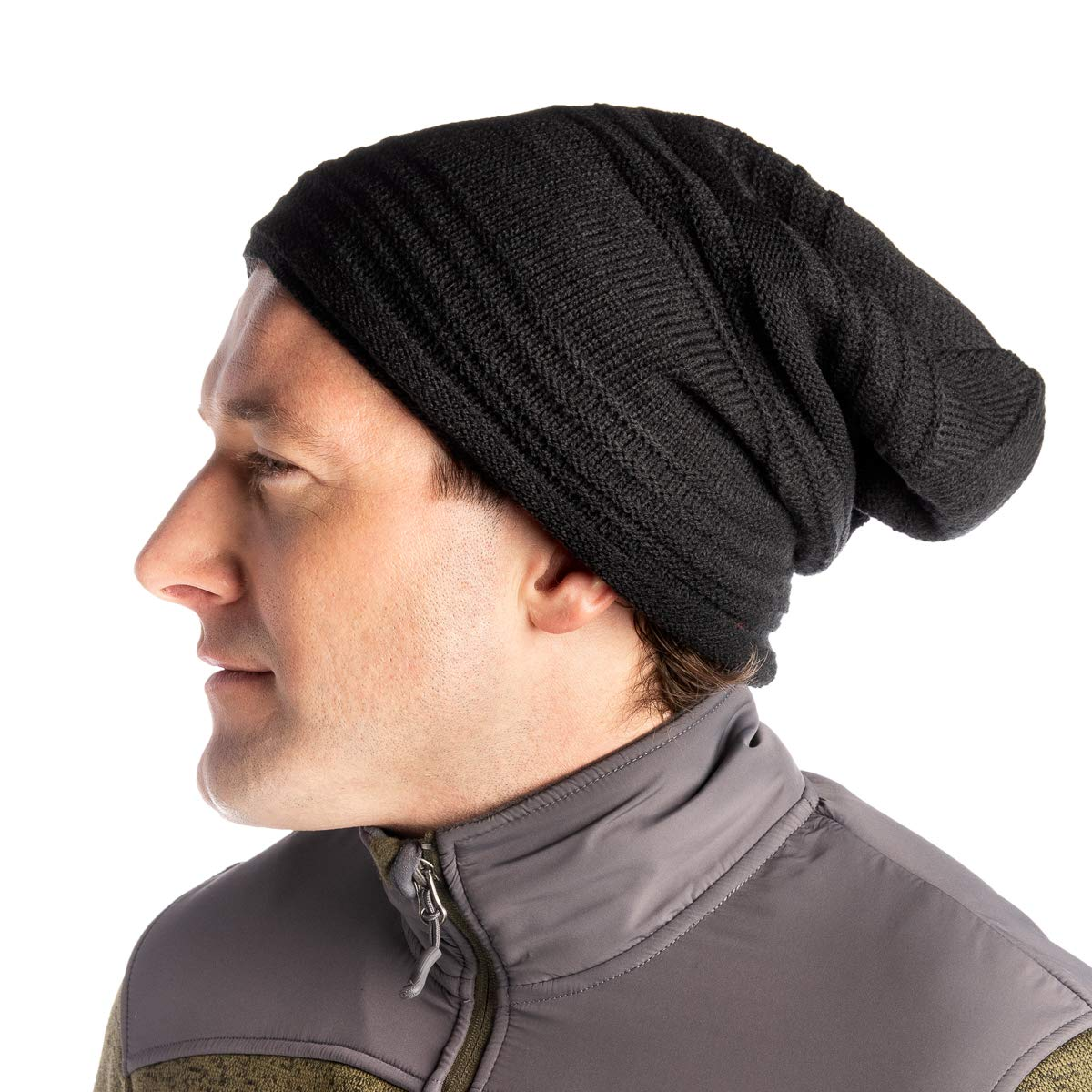 e3f7724a6a3fd6 DG Hill Mens Beanie Hat Long Slouchy Striped Ribbed Knit Hat Lightweight  Thick Black at Amazon Men's Clothing store: