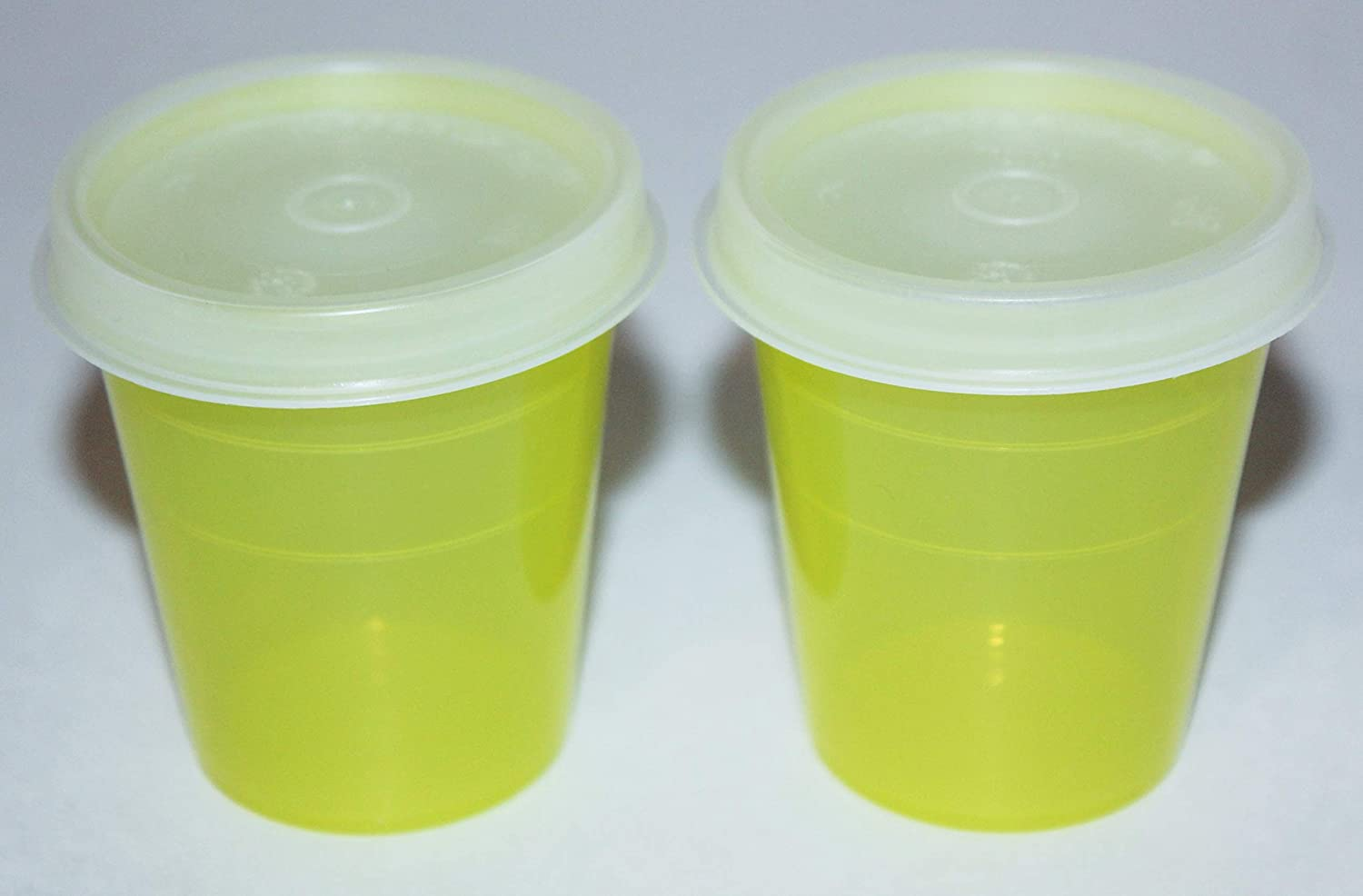 Tupperware Midgets Set of 2 Airtight 2 oz Tupper Minis in Chartreuse Yellow