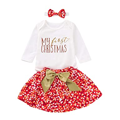 cbbe861b9 Image Unavailable. Image not available for. Color: Christmas Outfits Set  Baby Girls My First Christmas Long Sleeve Romper + Tutu ...