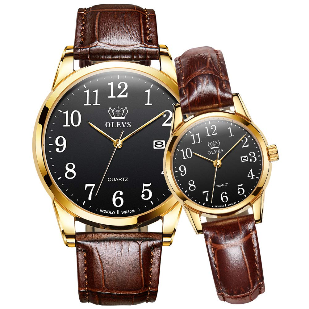 OLEVS Couples Dress Watches for Men and Women Lover Wedding Gift Set of 2,His and Hers Business Casual Black Dial Analog Quartz Date Wrist Watch Waterproof Luminous with Genuine Leather Band Brown