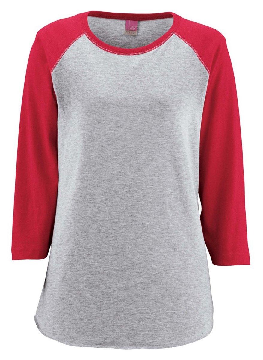LAT-Ladies' Fine Jersey Baseball T-Shirt-3530-XXL-Vntge Hthr- Vntge Red