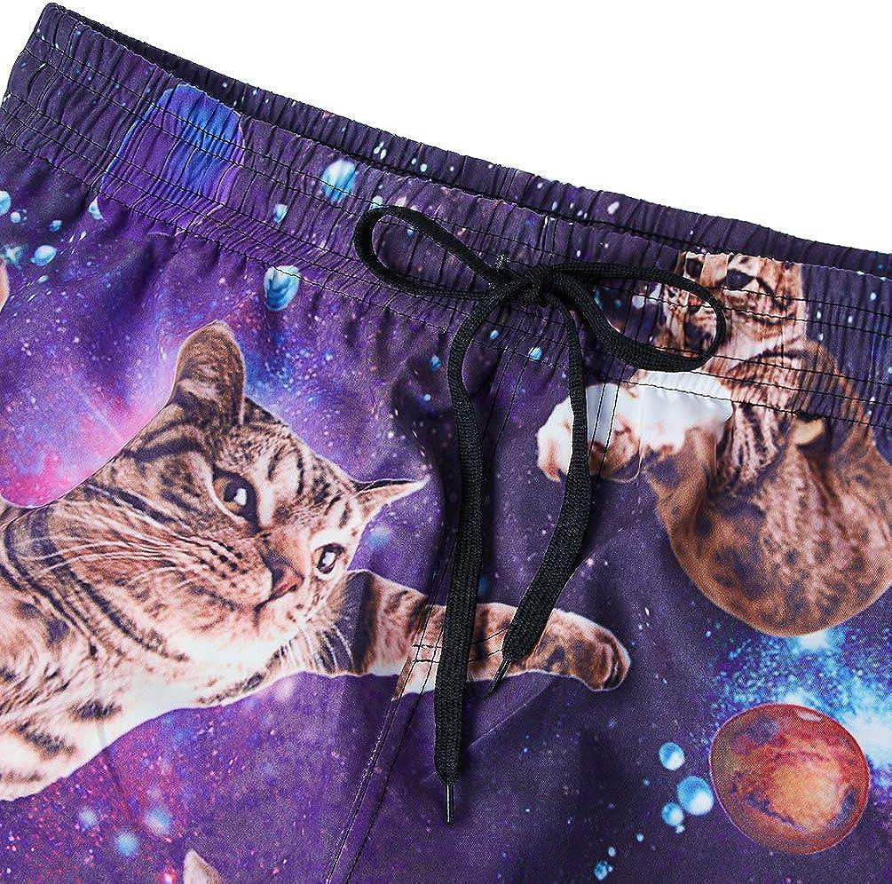uideazone 3D Galaxy Cat Herren Galaxy Cat Badeshorts M/änner Schwimmhose Herren Badehose