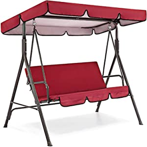 Patio Swing Canopy Replacement Cushions & Cover,Swing Waterproof Cover Swing Canopy Cover and Garden Chair Outdoor Sunscreen (Red)