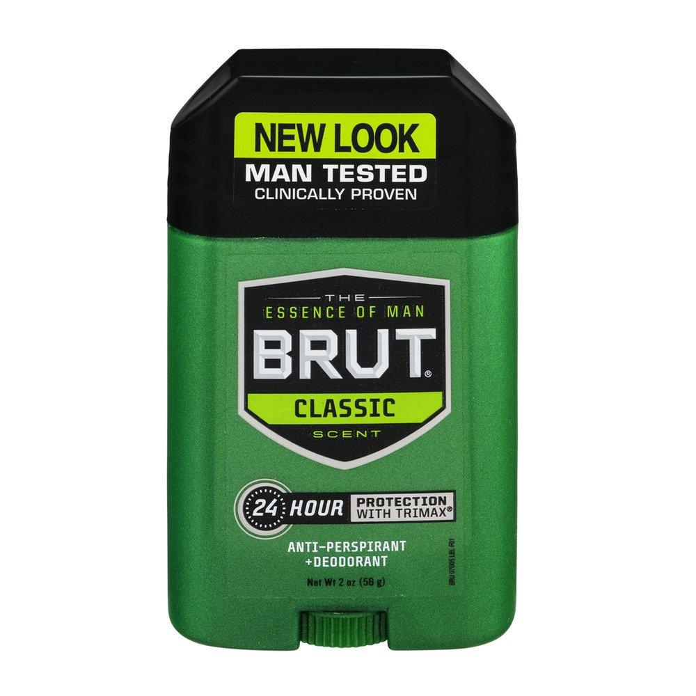 Brut Mens 24 hr Anti-Perspirant/Deodorant Solid Classic Scent 2oz-4 Pack OTC