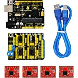 KEYESTUDIO UNO R3 CNC Kit/CNC Shield V3.0 +4pcs A4988 Stepper Motor Driver + UNO R3 ATmega328P with Usb Cable for Arduino GRBL Compatible
