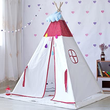 Tianta Children Game Tent Red Star Pattern And Yellow Deer Moon