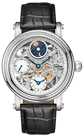 4c5e71c24f8b2 Exclusif Selva Montre de bracelet avec remontage manuel, soleil et de lune  Phase, Petite