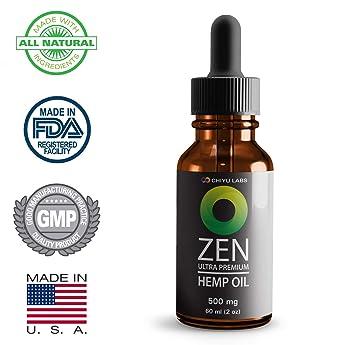 Hemp Oil Premium 500mg 60ml (2oz) | Natural Pain Reliever, Minimizes Epileptic Seizures
