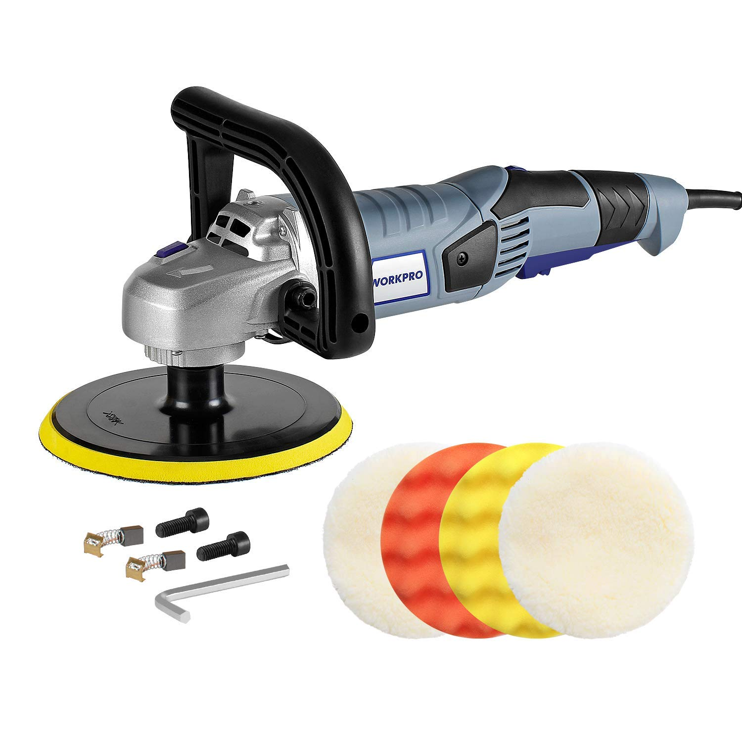 WORKPRO Car Polisher - 7-inch Variable Speed Buffer Waxer with 4 Buffing and Polishing Pads, Detachable Handle, Ideal For Car Sanding, Polishing, Waxing, Sealing Glaze by WORKPRO