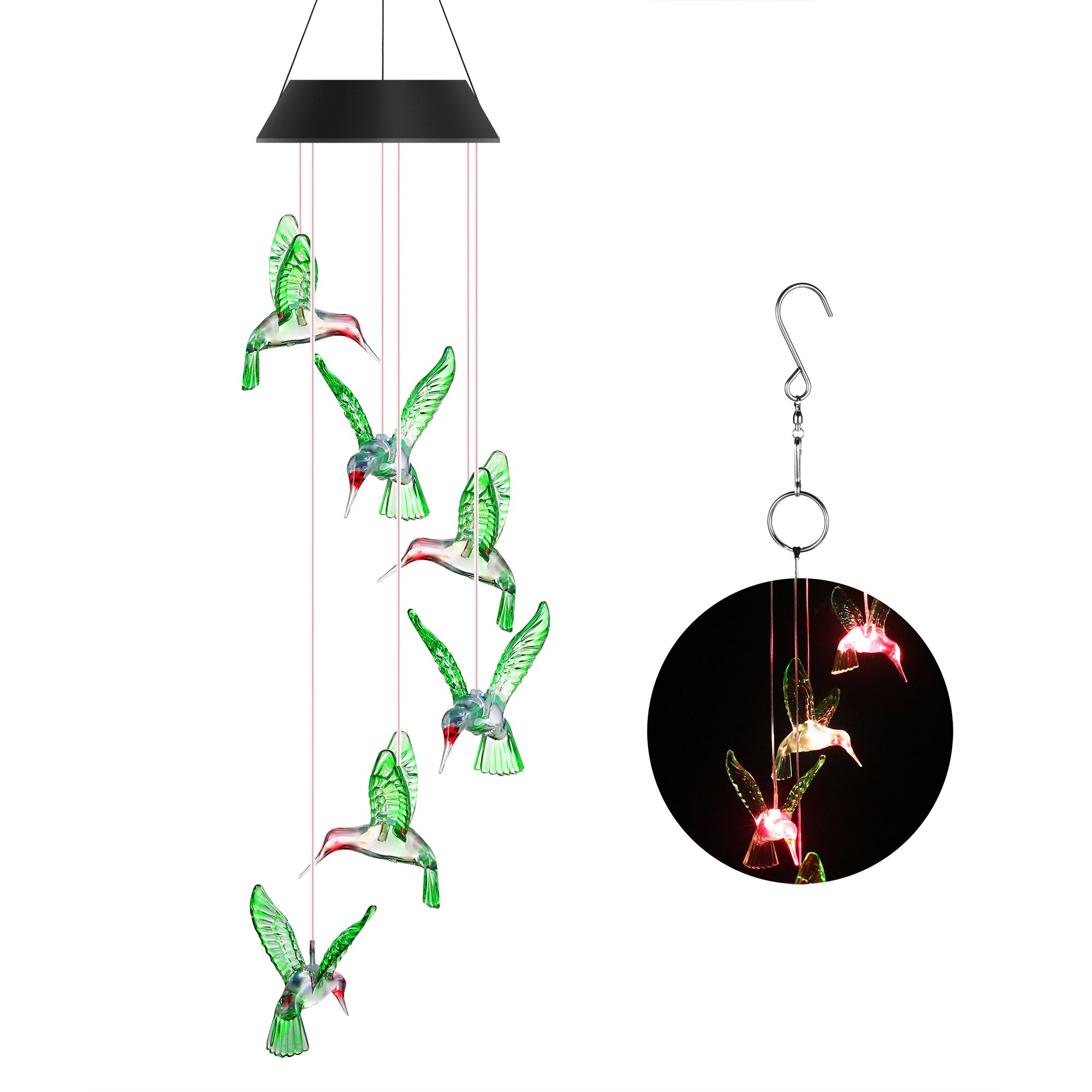 Punming Solar Wind Chime Changing Colors Solar LED Six Hummingbird Mobile Wind Chimes for Party Night Garden Outdoor Furniture Home Decoration