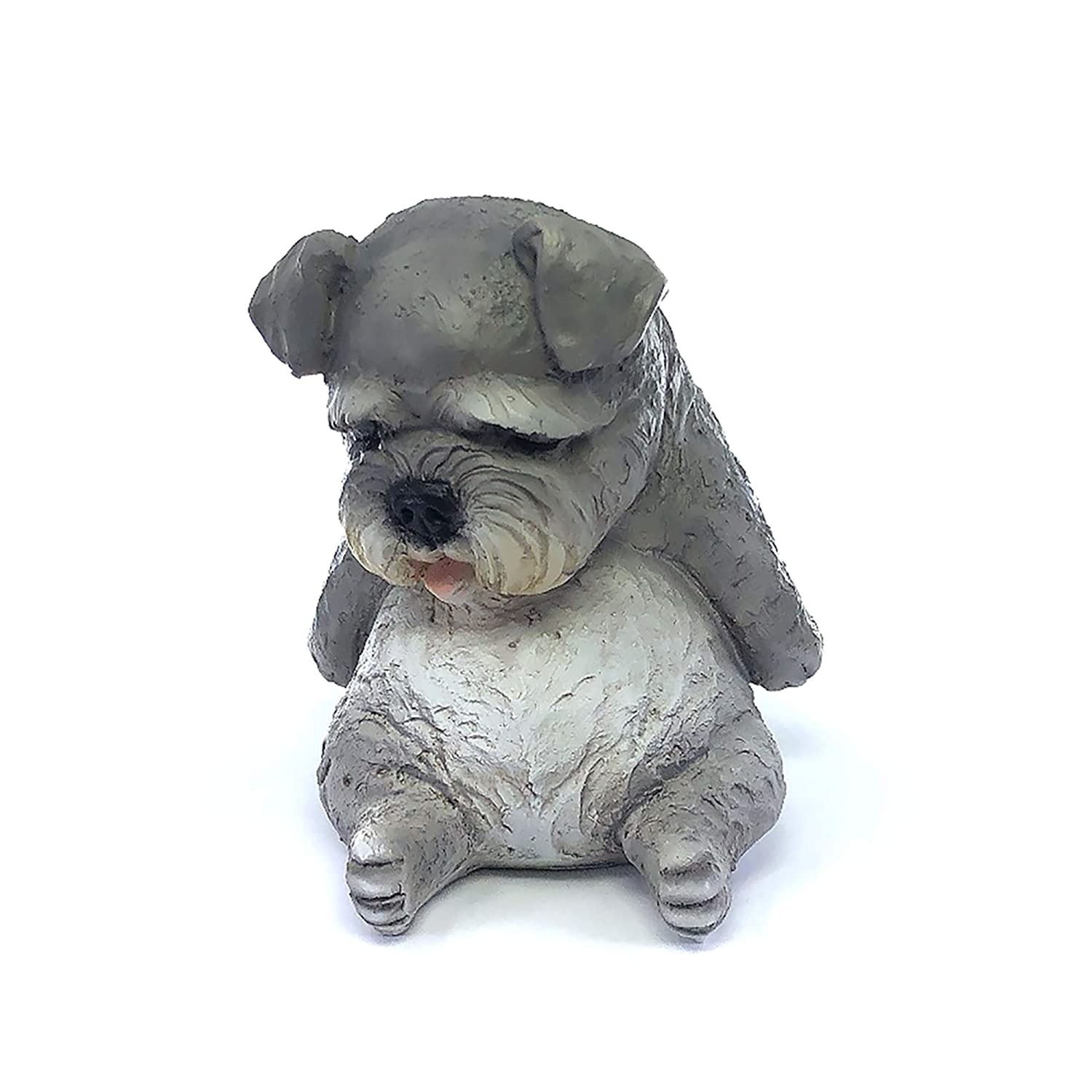 """IFiDEA Sleeping Animal Garden Statue 7"""" Grey Dog Figurine, Ornament Designer Art Decor for Indoor Outdoor Home Office Collection, Cute and Adorable Crafts Decoration, Collectible Figure"""